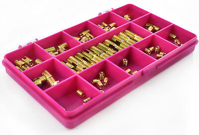 80 Piece Assorted Slotted Brass Insert Metric Self Tapping Threaded Screw In Kit