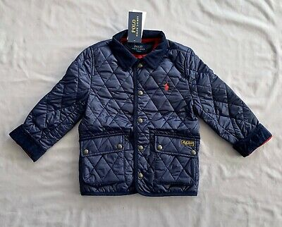 NWT POLO RALPH LAUREN Kids BOYS NAVY BLUE ICONIC QUILTED CAR COAT SZ 5