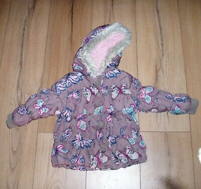 Puffa Coat age 18-24 months brown floral parka childrens girls kids used jacket
