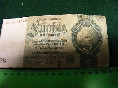 GERMANY...Third Reich  1933 issue 50 Reichsmark Banknote ...used.