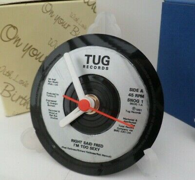 *new* RIGHT SAID FRED (BAND) - VINYL RECORD CLOCK - Desk / Table Top + Display