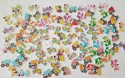 Lot Wood Kids buttons Crafting animal buttons Fox Airplane Trucks Dogs (lot#8