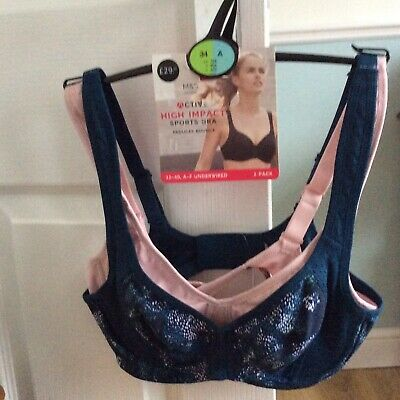 M&S 2 Pack High Impact Non-Padded Sports Bra Blue/Pink Size 34A BNWT RRP £29.50