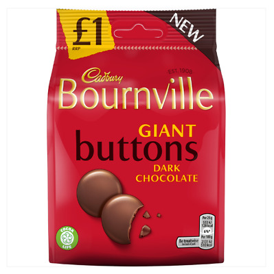 Full Box of 10 Cadbury Bournville Dark Chocolate Giant Buttons Bag 110G