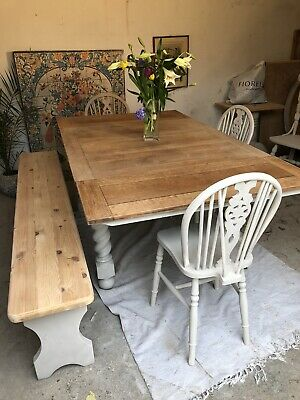 Antique Oak  Extending 6 Foot Refectory Kitchen Dining Table And Chairs An Bench