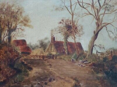 Early 20th century oil painting on board, rural idyll, sheep and farmstead