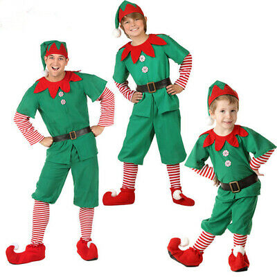 Christmas Elf Costume Suit Adult&Kids Cosplay Suit Party With Cap Belt Cute Gift