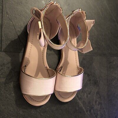 Girls Ted Baker Pink with Rose Gold Trim Sandals Size 3