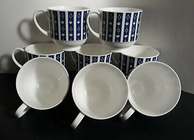 {8} Wedgewood Susie Cooper Design Mercury Pattern Bone China Tea Cups
