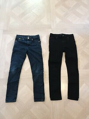 Boys River Island Skinny Jeans X 2 Pairs Black / Blue Age 9 Excellent Condition