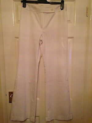 Next White Trousers With Pink Pin Stripe, Size 12 Long