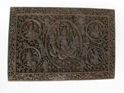 Superb Antique Indian Sandalwood Box With Deities Carved To Lid 19Th Century
