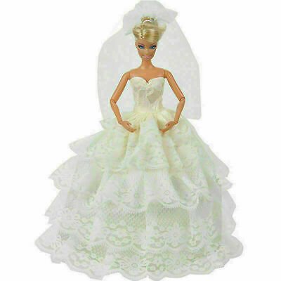 Handmade White Princess Wedding Party Dress Gown With Veil For 29cm Doll Be C5W1