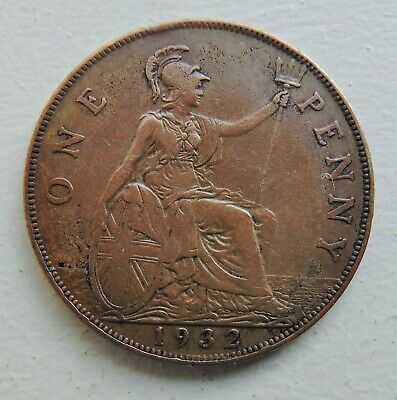 Nice 1932 George V  Penny collectable condition