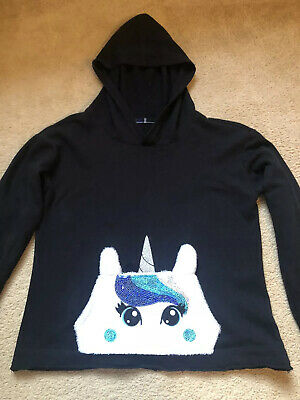 "Girls ""Justice"" Black Hoodie Age 10 Years. Bought In USA Excellent Condition"