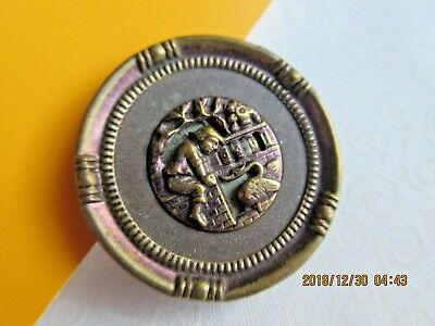 """6359 – Tinted """"The Goose that Laid the Golden Egg"""" Antique Button, 1-5/16"""""""