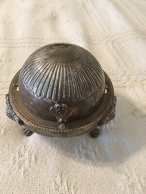 Vintage FB Rogers Silver Co. Butter Dish Roll Top Silverplate Lions Paw Feet 273