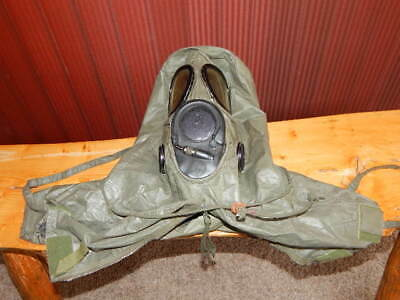 Vintage US Military USM Black Gas Mask MSA 2E27 + Chemical Biological Hood RARE!