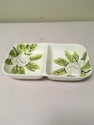 Red Wing Magnolia Chartreuse Pottery Divided Dish Concord Green White
