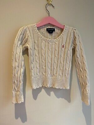 Polo Ralph Lauren Cream Cotton Cable Knit Pattern Pullover Jumper UK 4 Years