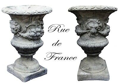 Vintage  Cast Stone Garden Urns Pots  With Lion And Wreath Design