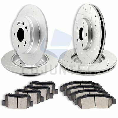 Brake Rotors FRONT+REAR ELINE DRILLED SLOTTED Honda ACCORD 1998-2002  V6