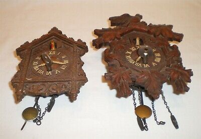 2 Miniature Novelty Souvenir Cuckoo Wall Clocks Lux & Keebler with Key