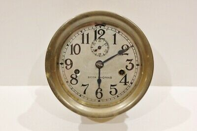 Antique Seth Thomas Brass Maritime Ships Clock W/ Key Made In USA