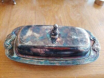 Vintage Antique ORNATE Silver Plate DOME Covered ROLL TOP Butter Dish FOOTED GUC