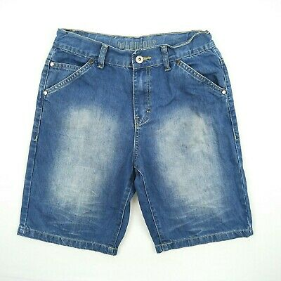 Bauhaus - Blue Faded Adjustable Denim Jeans Shorts Boy's Size 16 W28 to 30