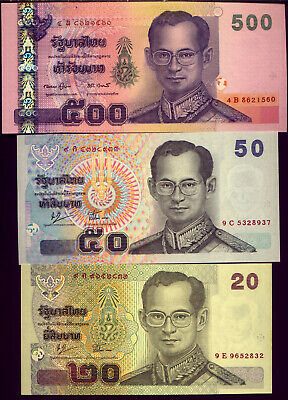 THAILAND: THREE VERY NICE  NOTES in  UNC CONDITION    NO  RESERVE