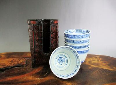 Chinese Pottery tea cup 5set & bamboo tea cup holder w/sign/ HOTARU style/ 9605