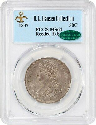 1837 50c PCGS/CAC MS64 (Reeded Edge) ex: D.L. Hansen - Bust Half Dollar
