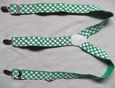 Braces Suspenders Mens Vintage CLIP ON GREEN IRISH CLOVER IRELAND LUCKY