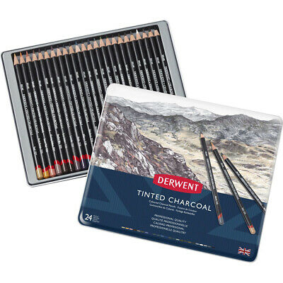 Derwent Tinted Charcoal Pencil Tin Of 24 Pencils (2301691)
