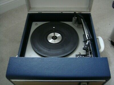 vintage blue fidelity Portable Record Player - BSR 3 Speed Turntable