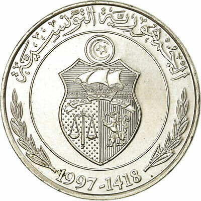 [#319642] Coin, Tunisia, Dinar, 1997/AH1418, AU(50-53), Copper-nickel, KM:347