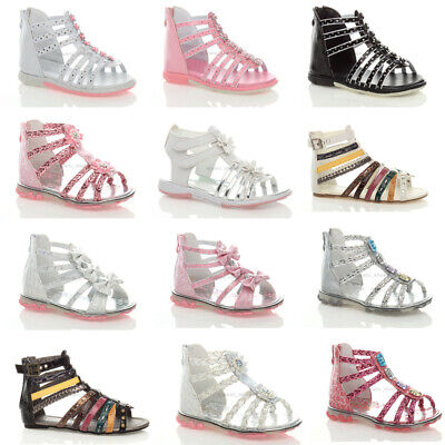 Girls Kids Baby Toddler Flat Zip Pink White Party Sandals Shoes Size