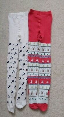 Next Girls Lovely Christmas Tights Set Of 2 Age 7-8 in good condition as Shown