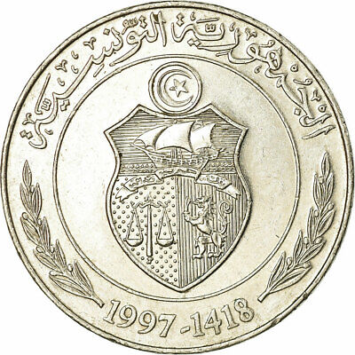 [#319643] Coin, Tunisia, Dinar, 1997/AH1418, EF(40-45), Copper-nickel, KM:347