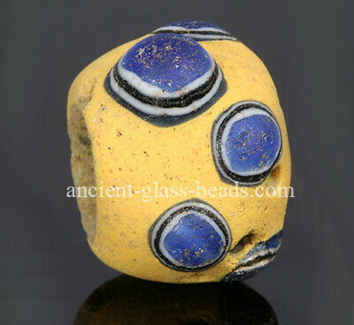 Ancient glass beads: large genuine Roman glass bead with mosaic cane eyes