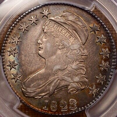 1823 O.101 Broken 3 Capped Bust half, PCGS AU53, SWEET++   DavidKahnRareCoins