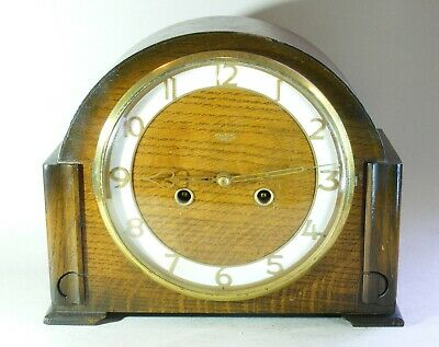 Smiths Enfield 8 day Striking Mantel Clock 1951 Wooden Case Working Key