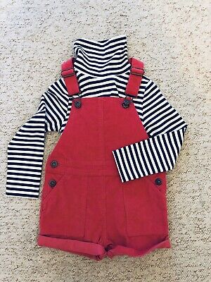 John Lewis. Age 3-4 chord Dungaree Shorts with polo neck top