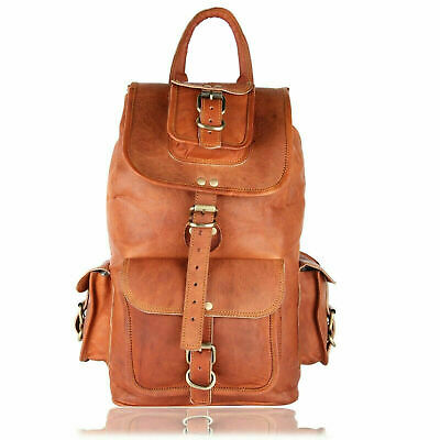 New High Quality Leather Back Pack Rucksack Men's Genuine Laptop Travel Bag