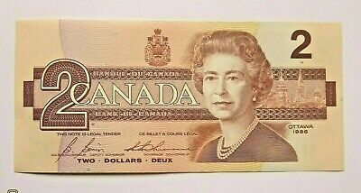 1986 Canada Brand New Two Dollar Banknote