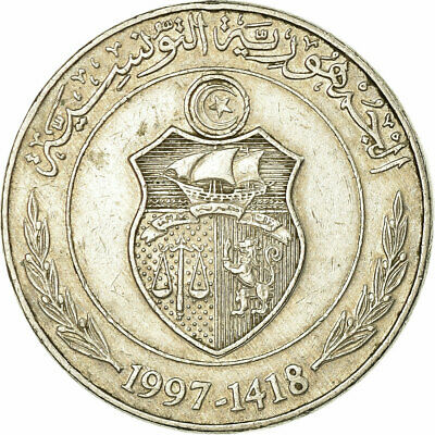 [#319645] Coin, Tunisia, 1/2 Dinar, 1997/AH1418, EF(40-45), Copper-nickel