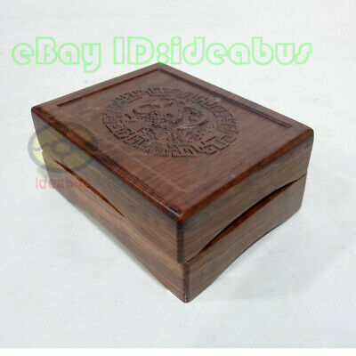 "Rosewood with Engraved Chinese Dragon Jewelry Pendant Gift Box(4.5""x3.5""x2"")"