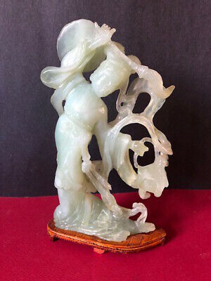 vintage hand carved Chinese celadon lady jade stone sculpture statue
