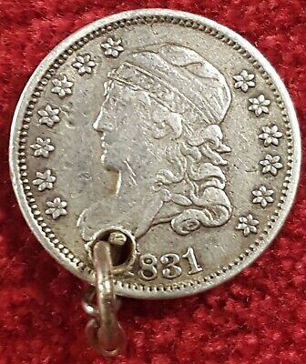 USA; 1831 US Capped Bust Half Dime Silver Coin, Holed,Good Detail, Five Cent, 5c